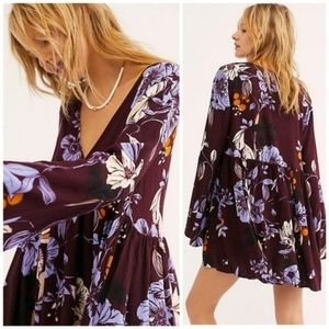 Free People Bella Printed Tunic in Wine XS NWT